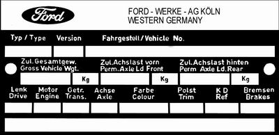 Typenschilder Fahrzeugindentifikation